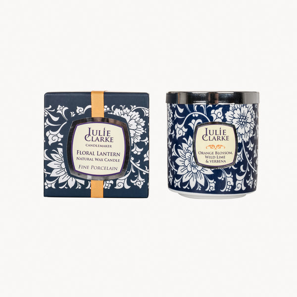 Orange Blossom, Wild Lime & Verbena Blue Floral Lantern