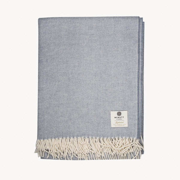 Smoke Herringbone Supersoft Lambswool Throw