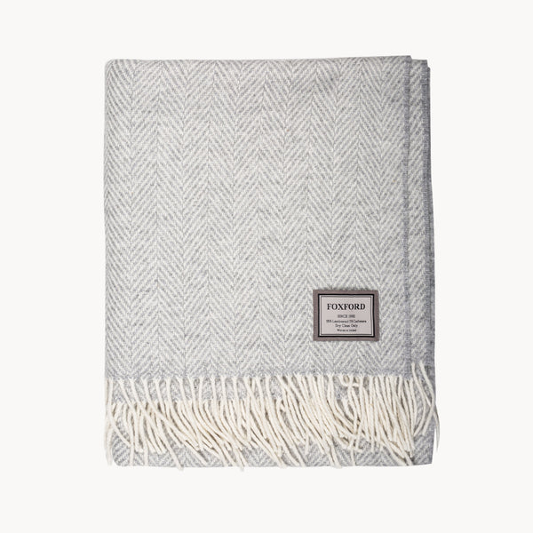 White & Pearl Grey Herringbone Throw