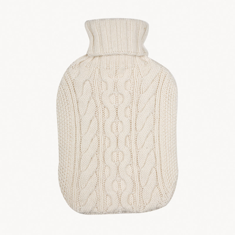 Cream Knitted Hot Water Bottle