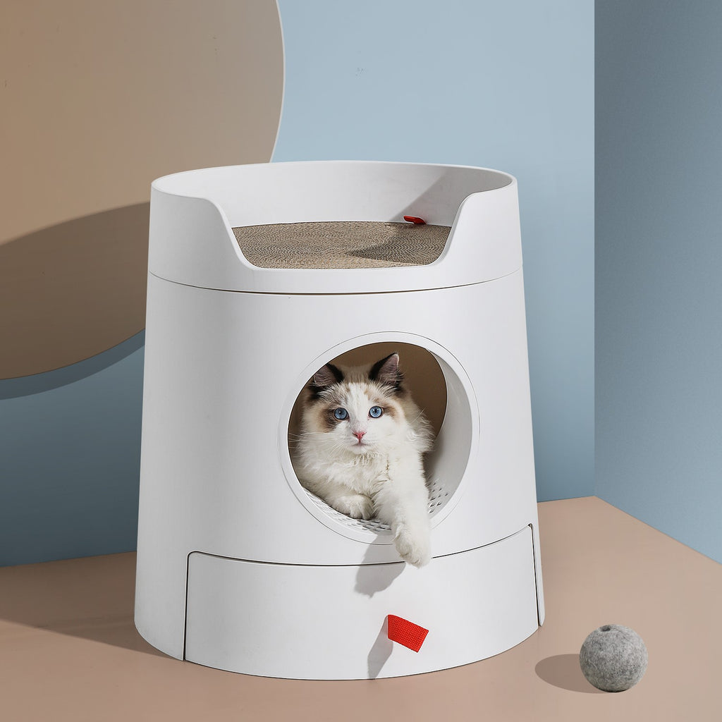 Mayitwill XL Castle 2 in 1 Front-Entry Cat Litter Box with Scratch Basin, Scoop included, White