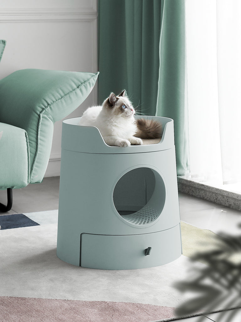 Mayitwill XL Castle 2 in 1 Front-Entry Cat Litter Box with Scratch Basin, Scoop included, Morandi Green