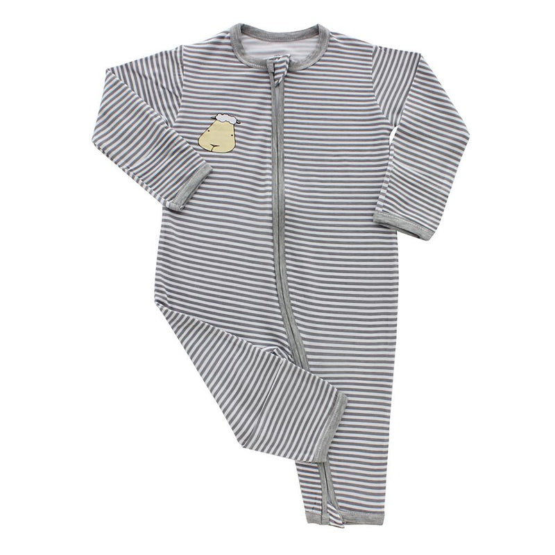 Romper Zip Grey Stripe