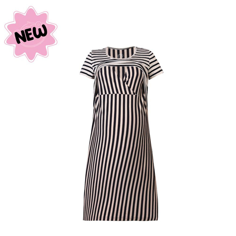 DooDooMooky Maternity & Nursing Dress Brown Striped Top with Brown Stripe Dress