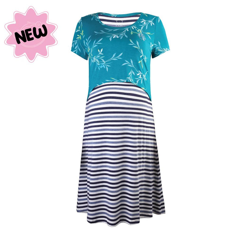 DooDooMooky Maternity & Nursing Dress Flower Green Top with Blue Striped Dress
