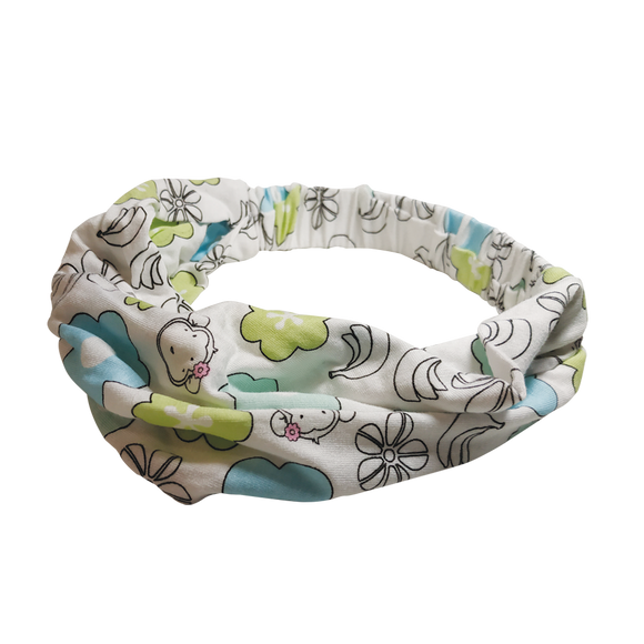 DooDooMooky - Hair Band - Mooky Flower White with Blue and Green Flower - Wide