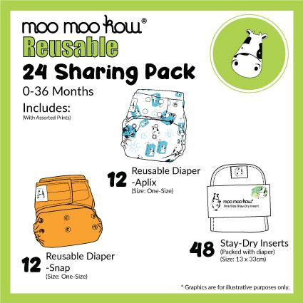 Sharing Package - 24 Moo Moo Kow® Diapers