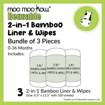 2 in 1 Bamboo Diaper Liners & Wipes (Bundle of 3)