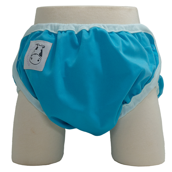 One Size Swim Diaper Sky Blue with Baby Blue Border