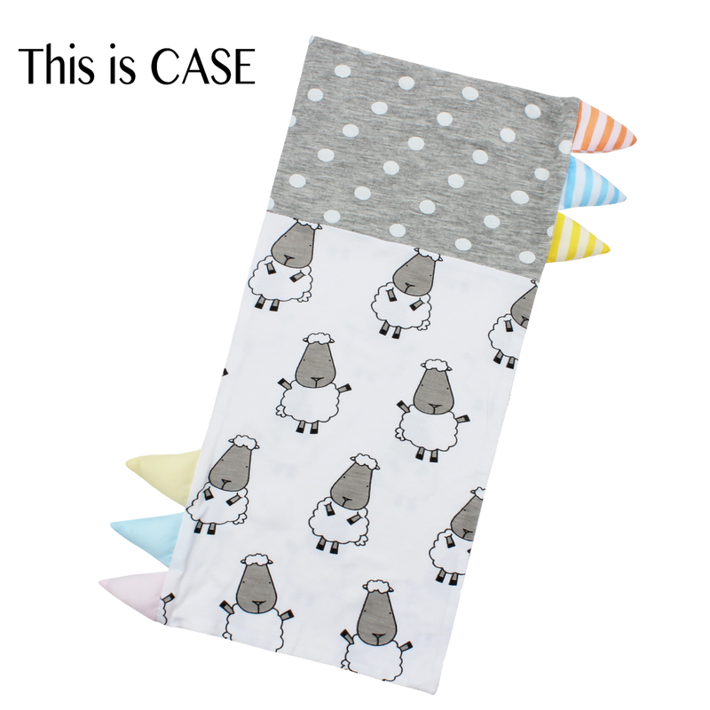 Bed-Time Buddy™ Case Big Sheepz White + Polka Dot Grey with Color & Stripe tag - Jumbo