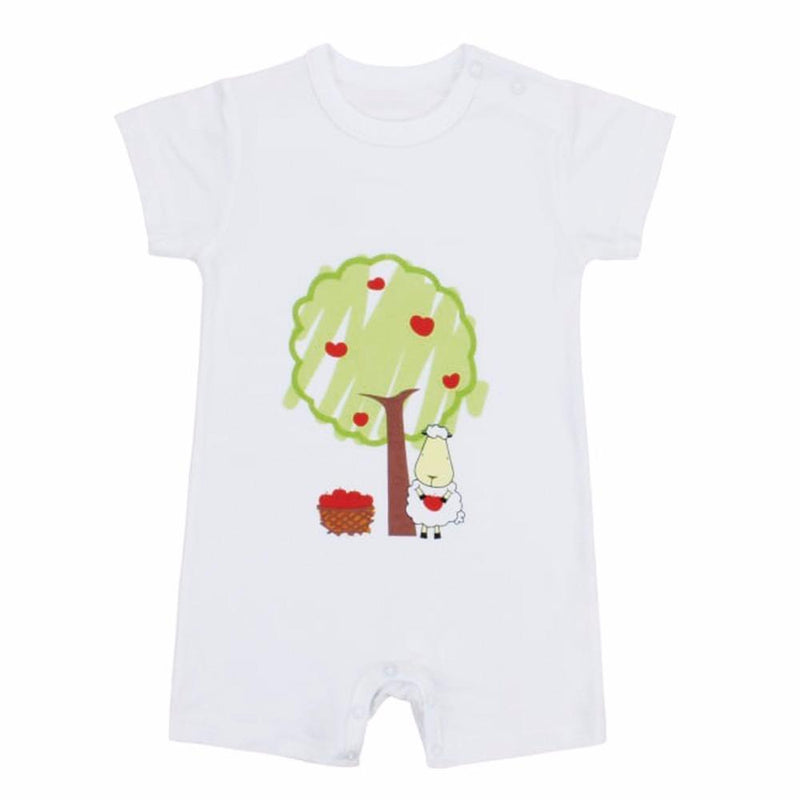 LIMITED EDITION - Romper Short Sleeve Big Sheepz White and Apple Tree