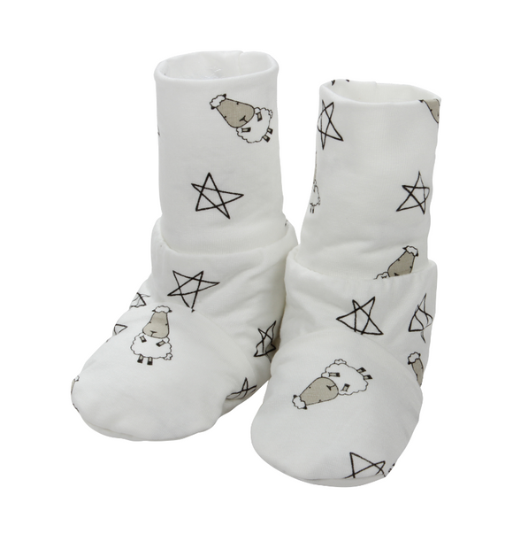 Booties White Small Sheep & Star