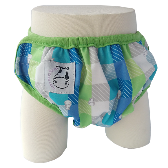 One Size Swim Diaper Checkers with Green Border
