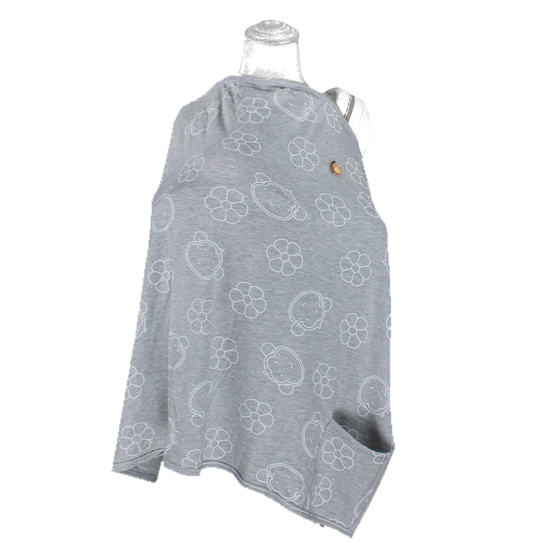 DooDooMooky Bamboo Nursing Cover Adjustable size Grey Mooky Flower - Apron Type