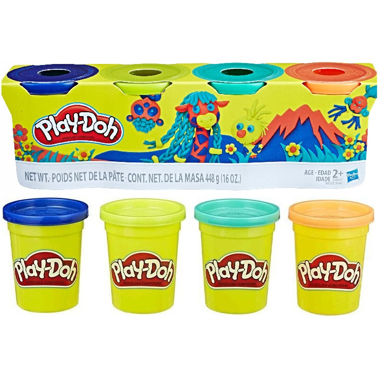 Play-Doh Classic Colour Pack - Dark Blue, Lime Green, Turquoise and Orange