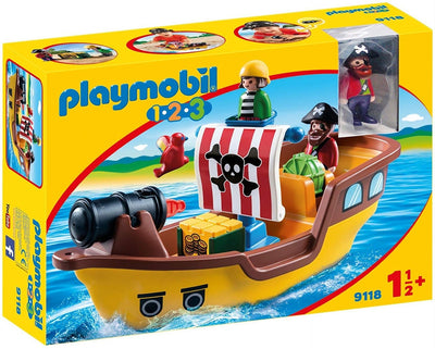 Playmobil 1.2.3 Floating Pirate Ship with Firing Water Cannon