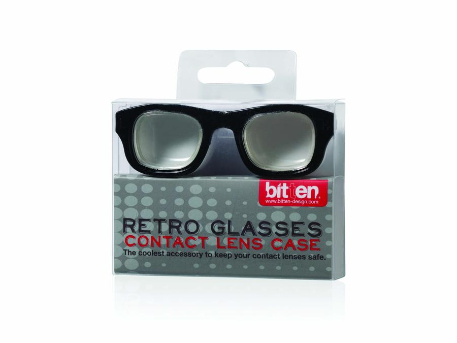 Retro Glasses Contact Lens Case Black and White