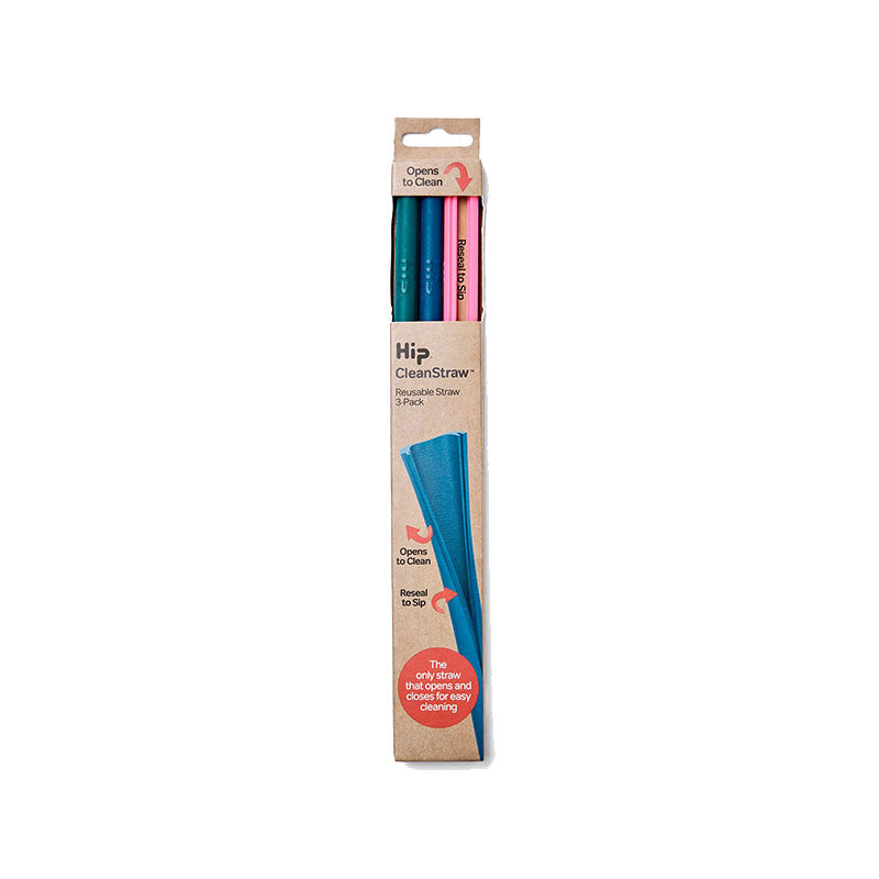 Hip Cleanstraw™ Resealable Straw Set Of 3 - Brights - Hot Pink, Space, Jade
