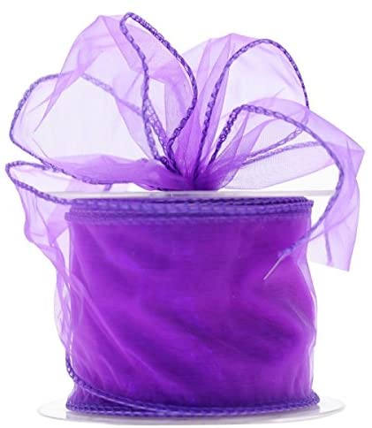 APAC Quality Florist/Craft Purple Wired Edge Chiffon Organza Ribbon (70mm Wide x 20m)