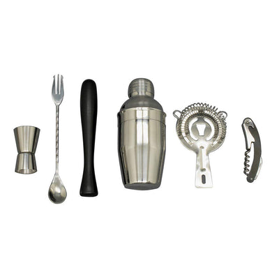 Cocktail Shaker Set - Stainless Steel 6 Piece Bar Tools Kit with Shaker, Strainer, Muddler, Bottle Opener, Stirrer, And Jigger