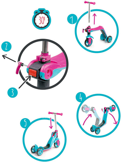 Reversible 2 In 1 Scooter Pink