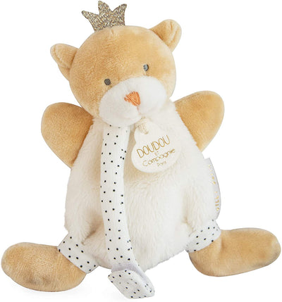 Doudou et Compagnie - Bear Small King Cuddly Toy with Dummy Clip Beige