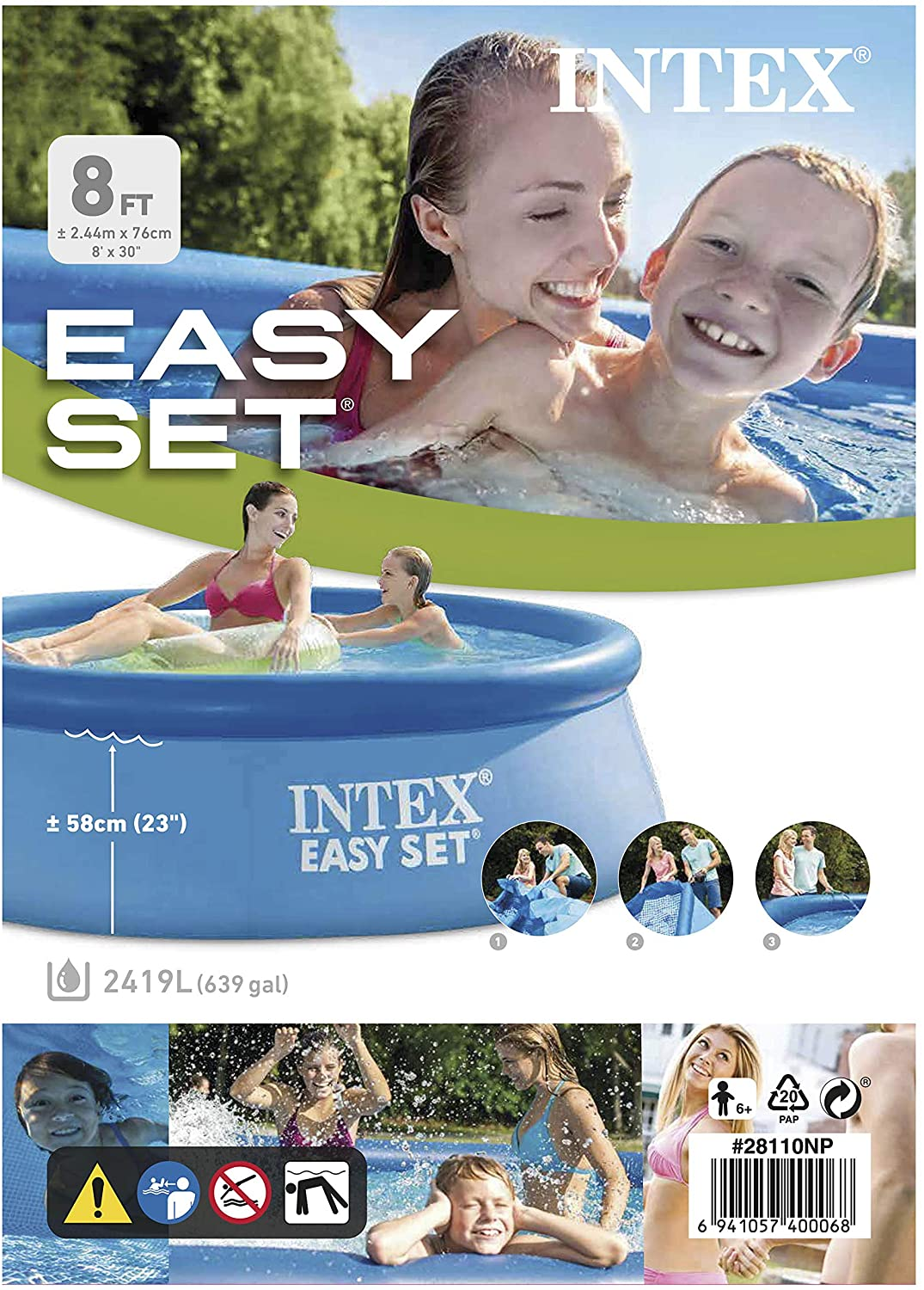 "John Adams 8' x 30"" Easy Set Pool (colours may vary)"