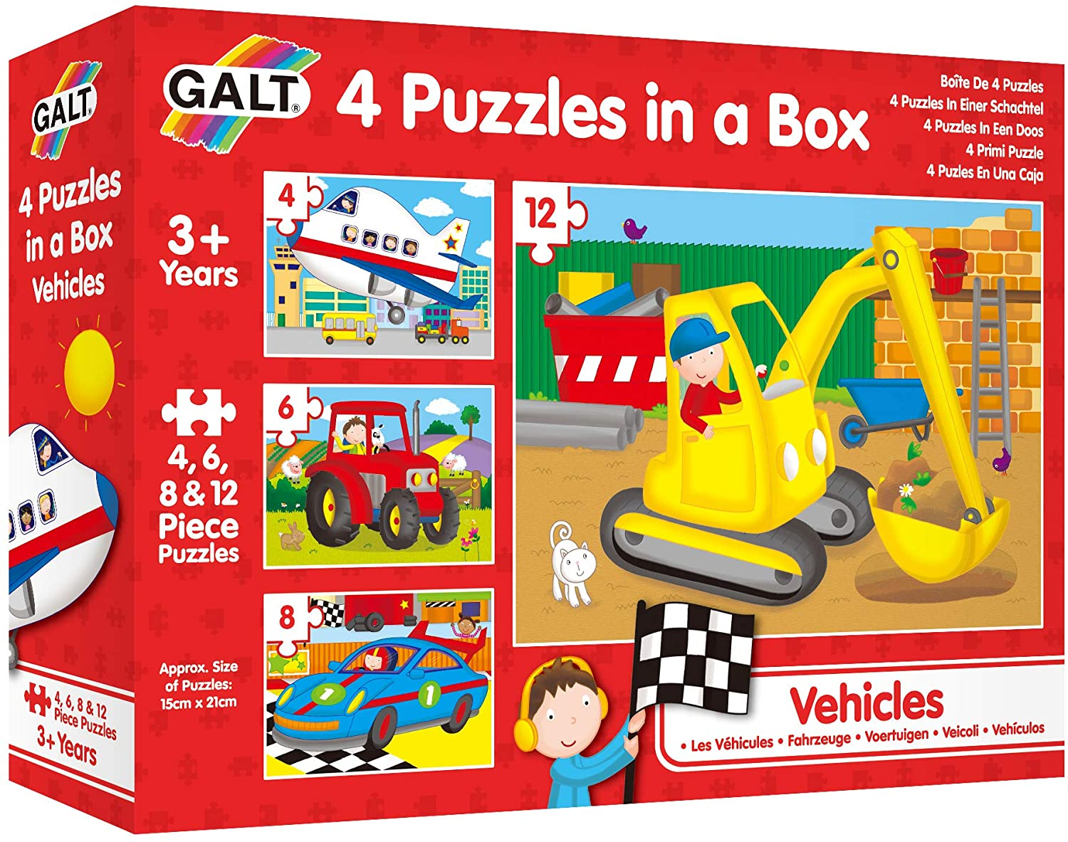 Galt Toys 4 Puzzles in A Box - Vehicles