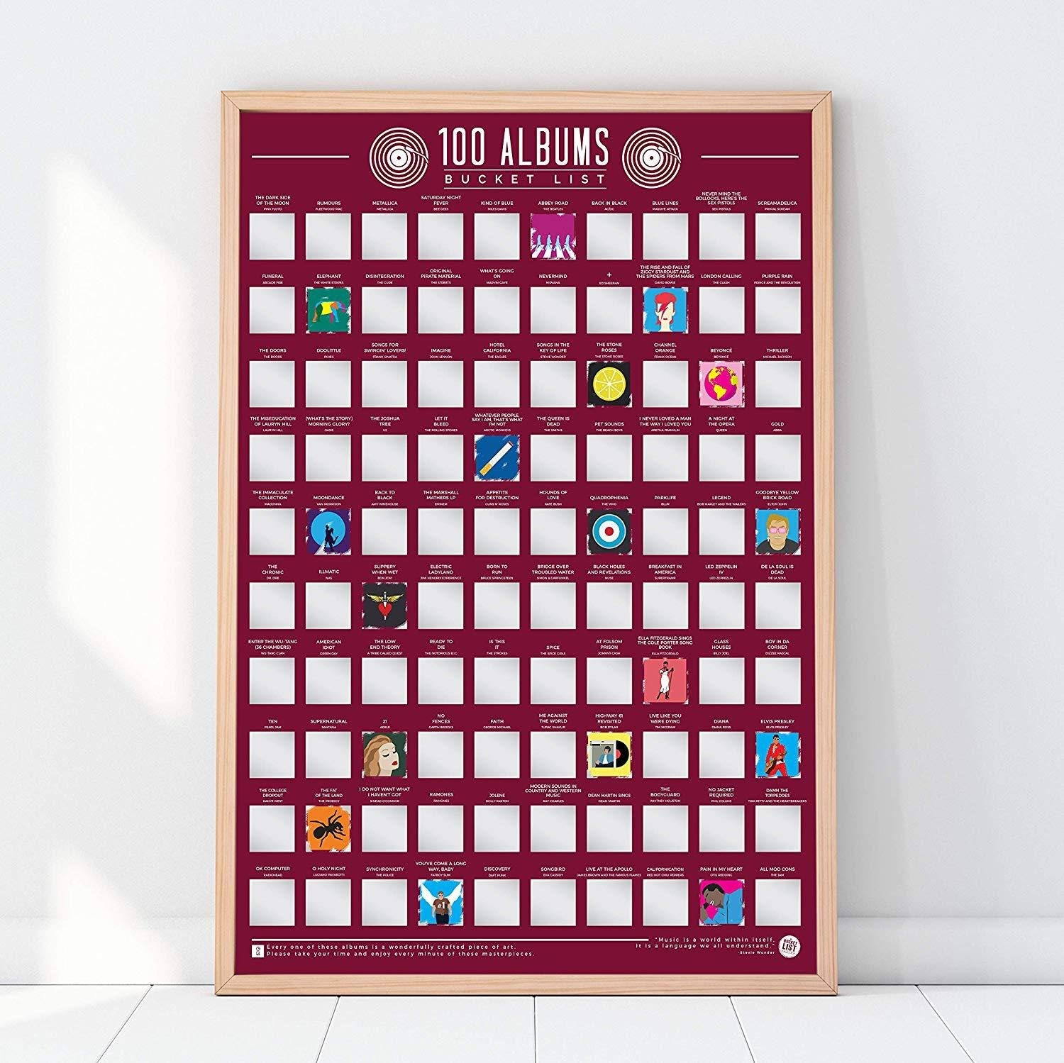 100 Albums Scratch Off Bucket List Poster