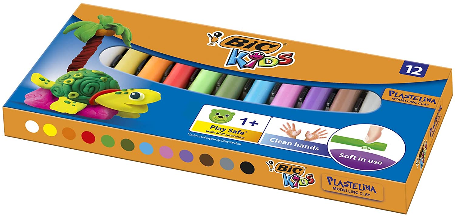 BIC Kids Plasticine - Assorted Colours, Pack of 12