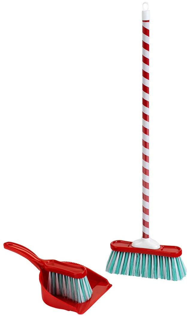 Broom set with candy cane motif, 3 pieces