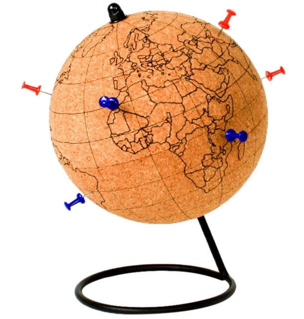 colour in cork globe