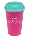 Travel mug happiness lies within