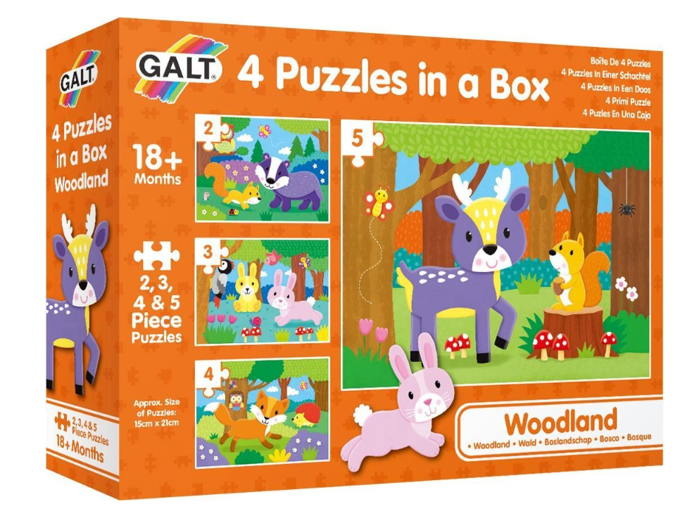 Galt 4 Puzzles in a Box - Woodland