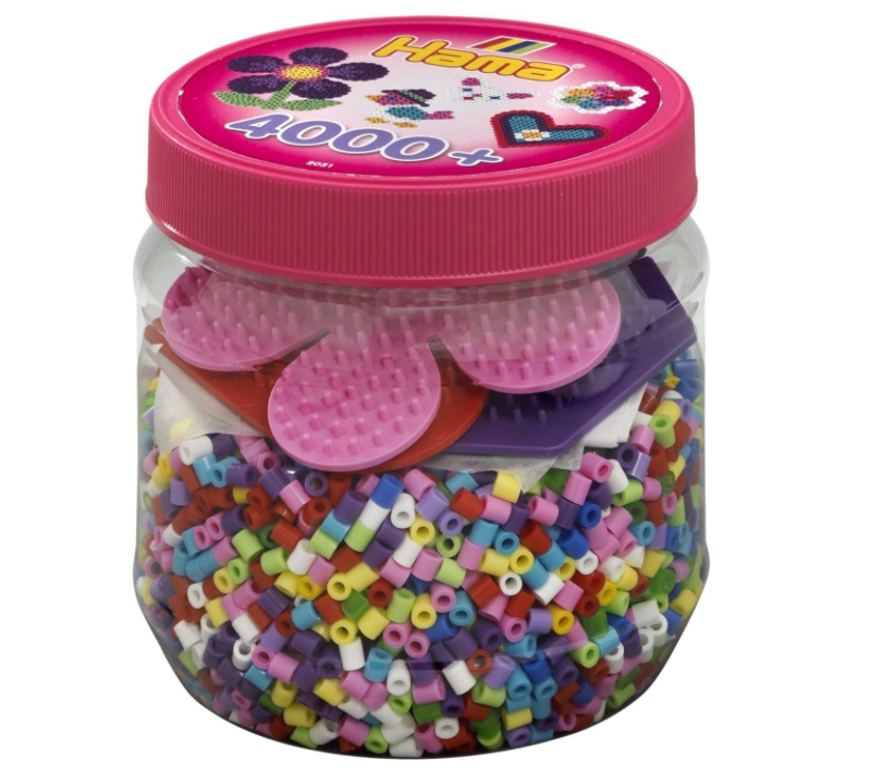 Hama  4,000 Beads & 3 Pegboards in Pink Tub