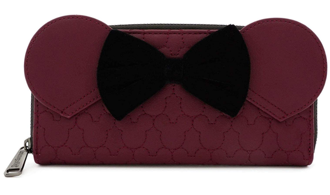 Disney Minnie Mouse Maroon Quilted Zip Around Purse