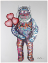 Small Wall Painting (LED Neon) – Spaceman Hearts