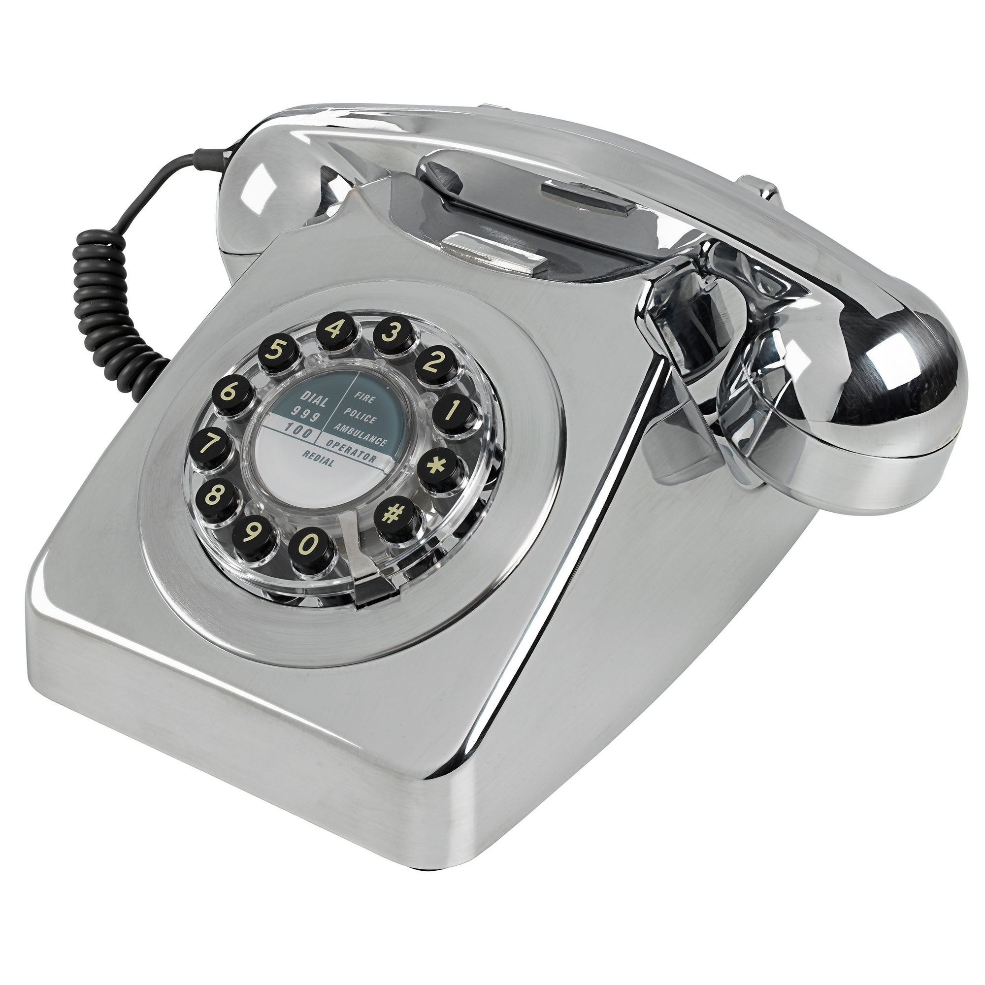 Wild and Wolf 746 Corded Phone | Brushed Chrome