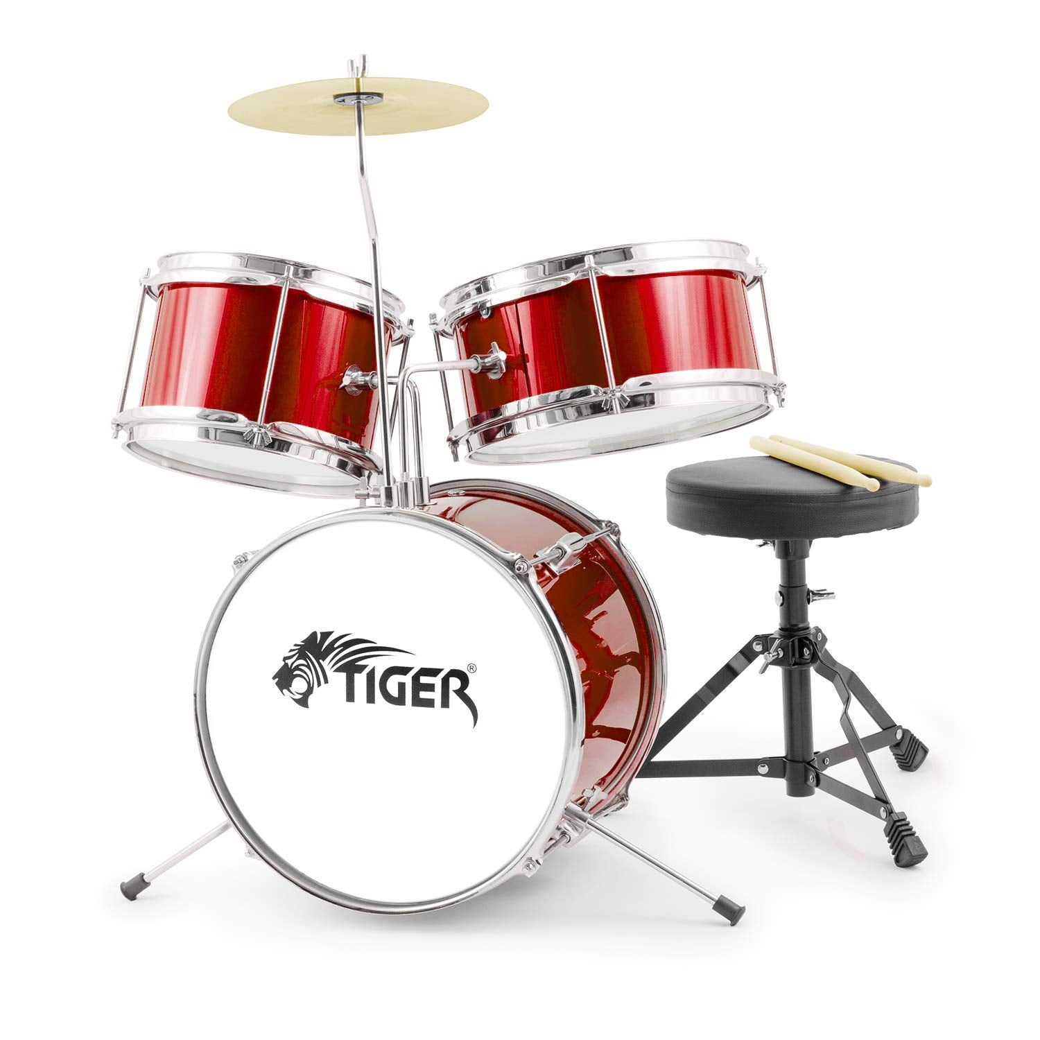 Tiger 3 Piece Junior Drum Kit - Red
