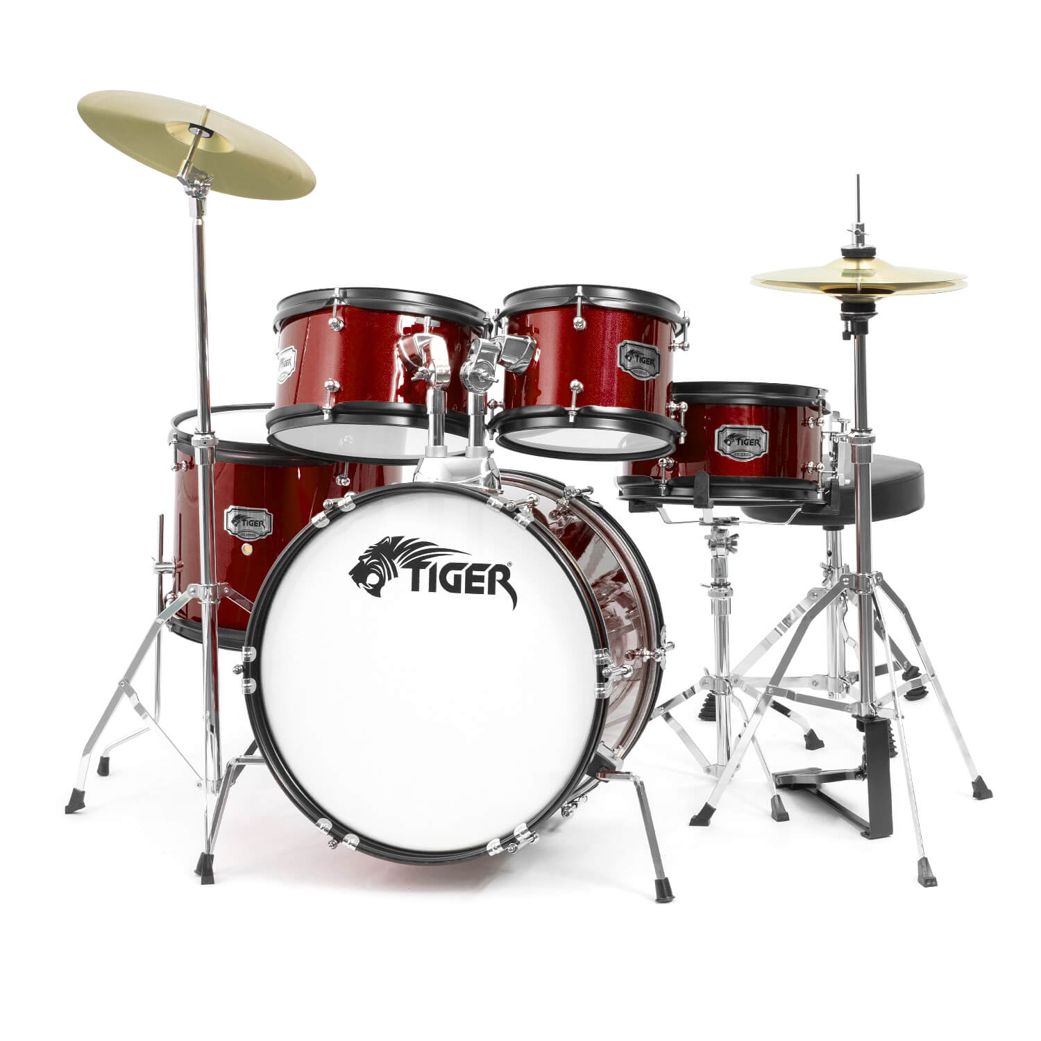Tiger 5 Piece Junior Drum Kit - Red
