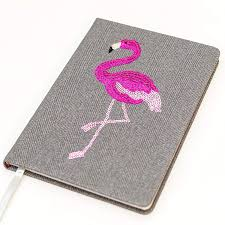 Echo Three Embroidered Flamingo Sequin, A5 Notebook, Lined pages, Grey
