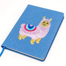 Echo Three Embroidered Llama Sequin, A5 Notebook, Lined pages, Blue