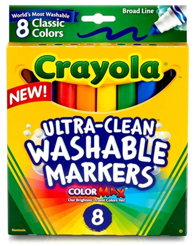 Crayola 8 Ultra Clean Washable Broad Markers