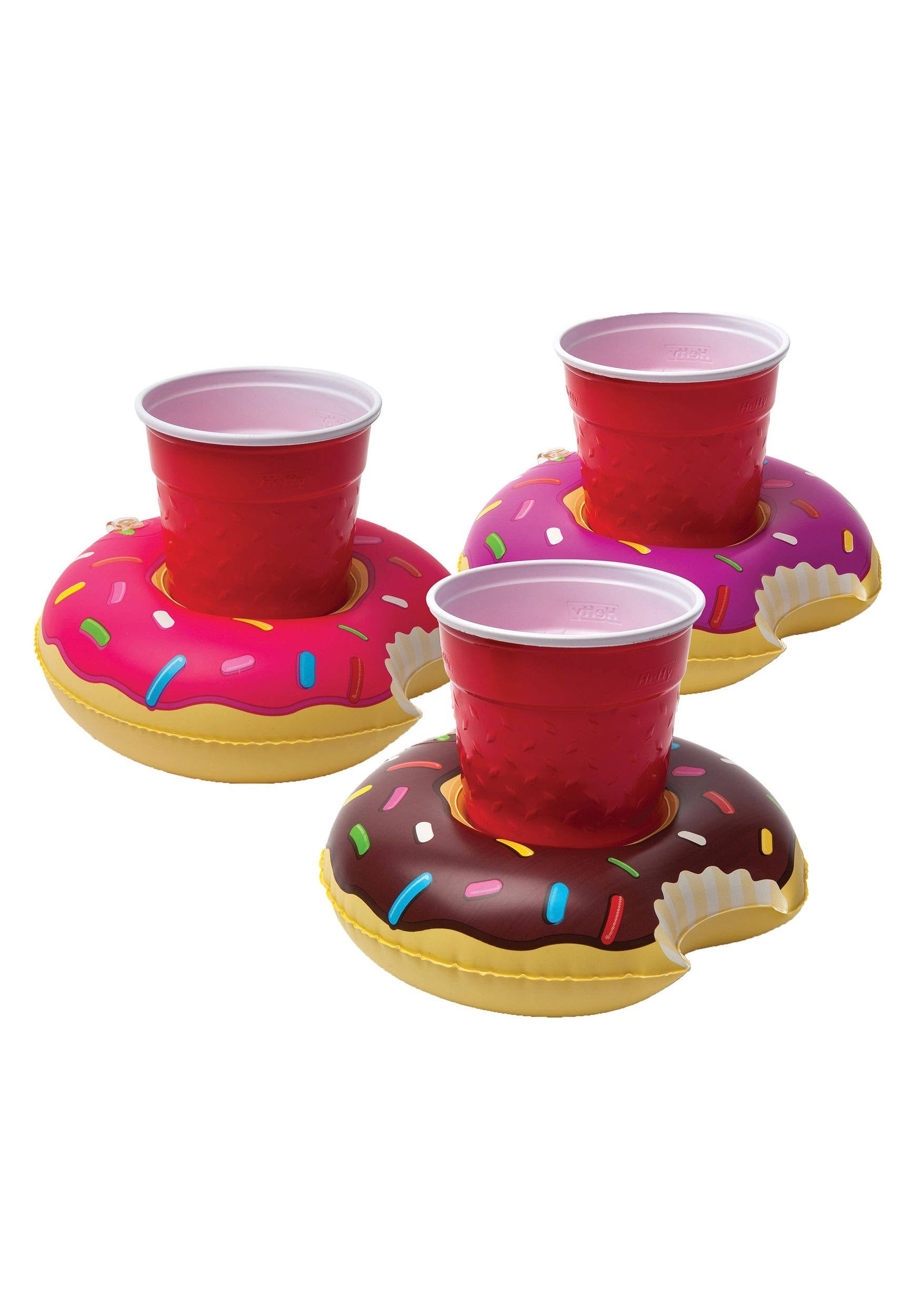 3pcs Inflatable Beverage Boats Donuts Drinks Cup Holder