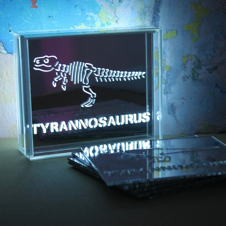 Mini Acrylic Box LED - 6 Dinosaur Slide