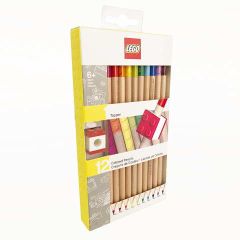 LEGO® 12 Colour Pencils With Brick Topper