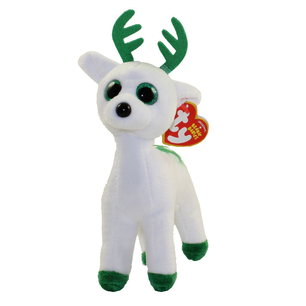 TY Beanie Baby - Peppermint The Green & White Reindeer