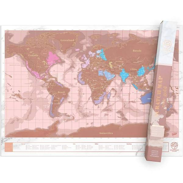 World Scratch Map - Rose Gold Edition