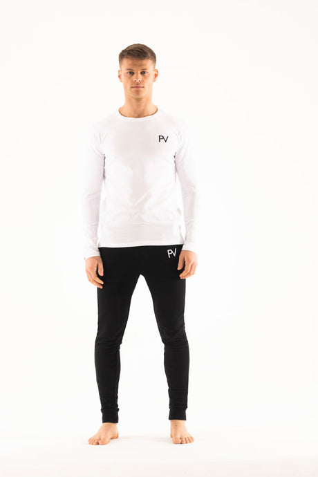 White long sleeve  &  Slim jogger Loungewear set