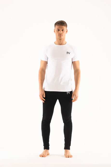 White short sleeve & Slim jogger Loungewear set